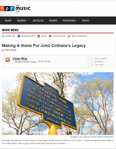Making a Home for John Coltrane's Legacy - NPR